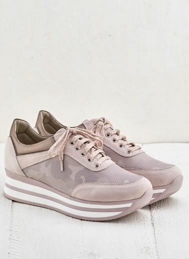 Elle Dolgu Tabanlı Sneaker Ayakkabı Pembe